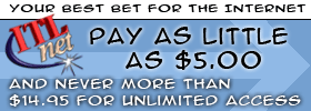 ITLnet: Pay as little as $5.00, and never more than $14.95 for unlimited dial-up access.